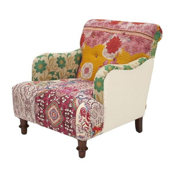 Jennifer Taylor Kantha Floral Uphosltered Arm Chair Free