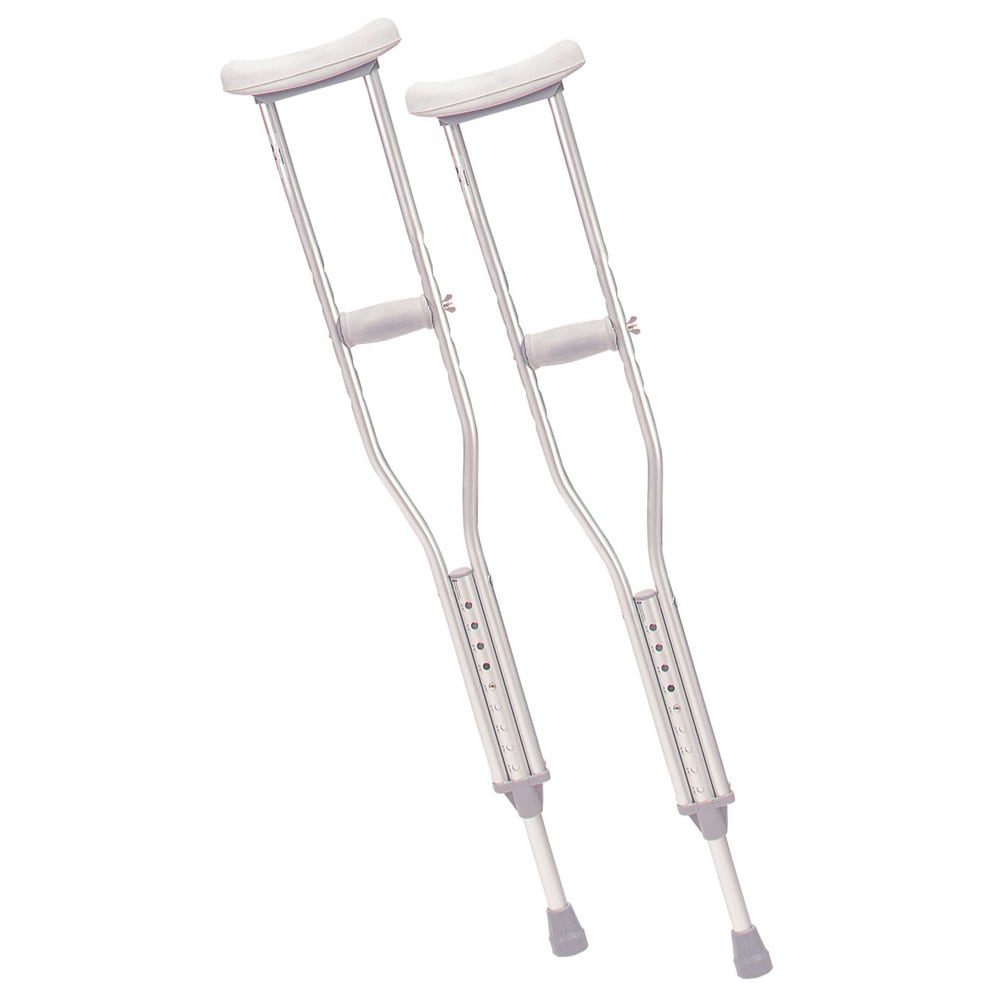 Drive Medical Walking Crutches with Underarm Pad and Handgrip (Adult, 1 Pair), Silver