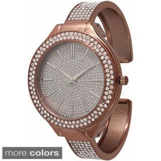 Olivia Pratt Elegant Rhinestone Cuff Watch