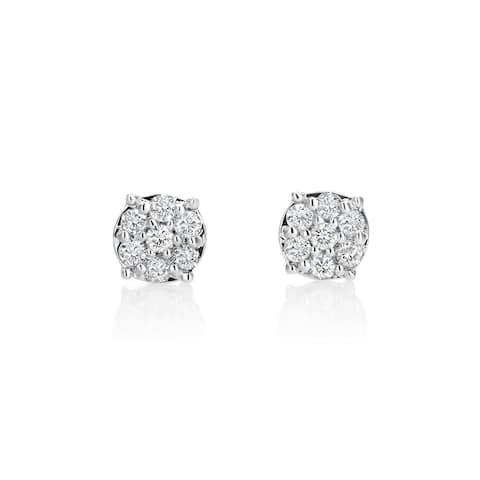 SummerRose 14k White Gold 1/2ct TDW Diamond Cluster Stud Earrings