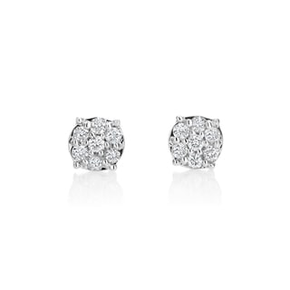SummerRose 14k White Gold 1/2ct TDW Diamond Cluster Stud Earrings (H-I, SI1-SI2)