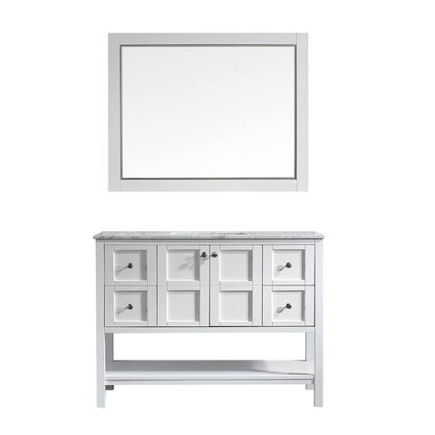 "Vinnova Florence 48"" White Single Vanity with Marble Top and Mirror"
