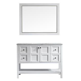 Vinnova Florence 48-inch White Single Vanity with Carrara White Marble Top, and Mirror