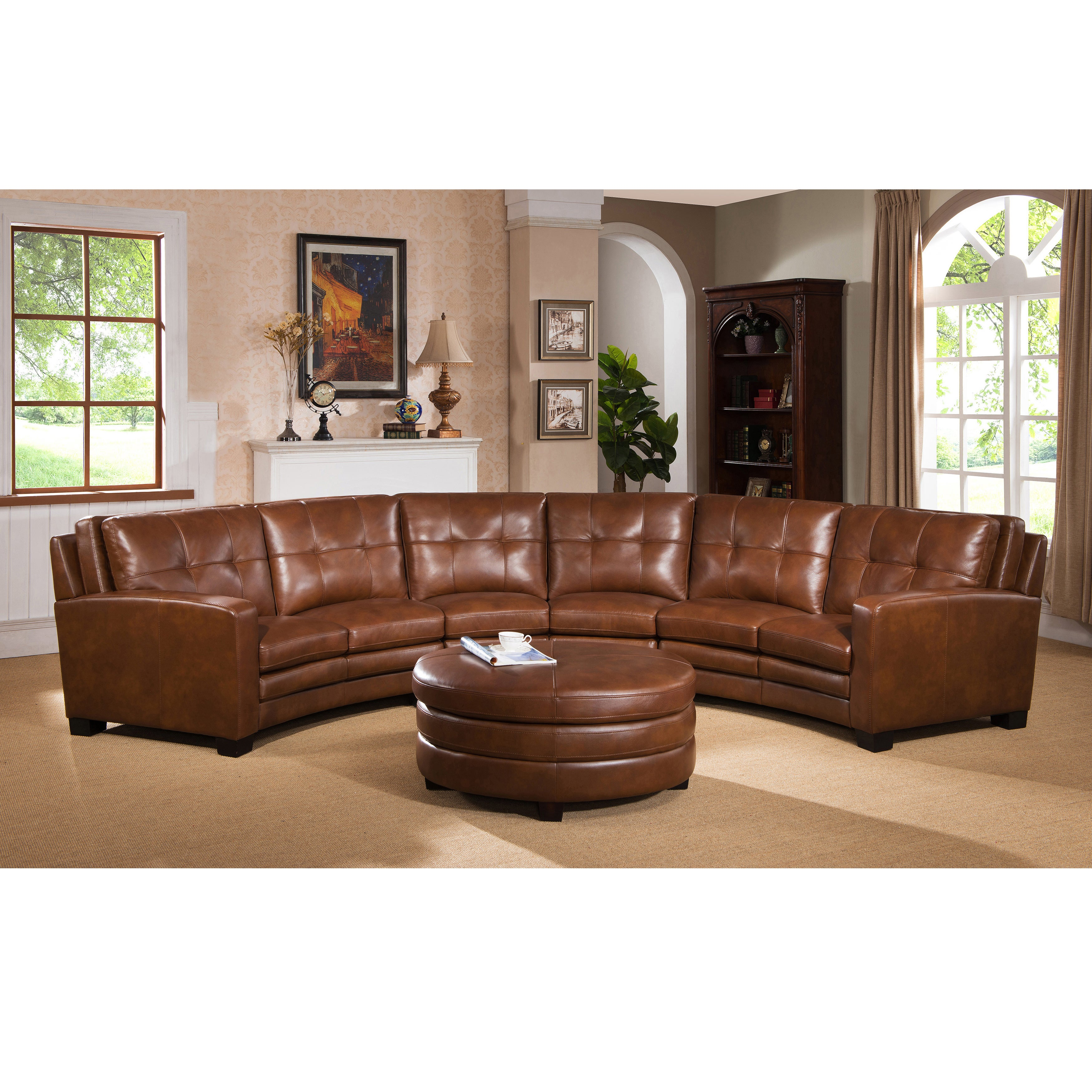 Meadows Brown Curved Top Grain Leather Sectional Sofa and...