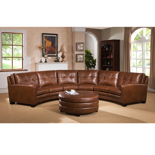 Merveilleux Meadows Brown Curved Top Grain Leather Sectional Sofa And Ottoman