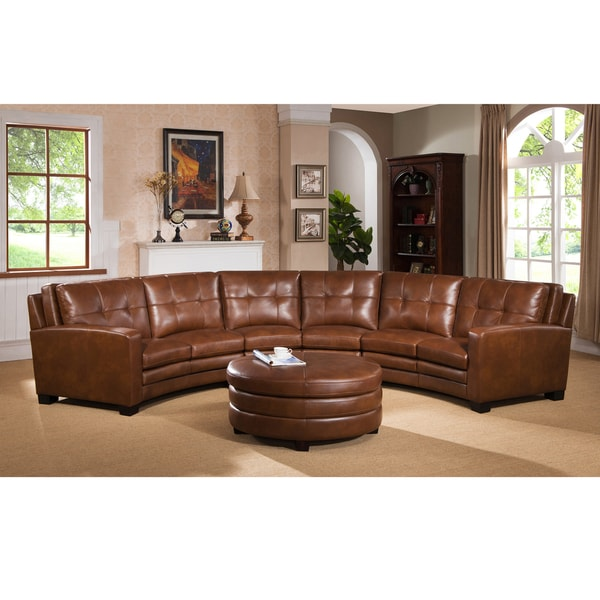 Meadows brown curved top grain leather sectional sofa and for Curved leather sectional sofa uk