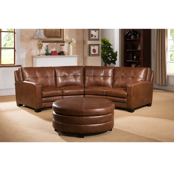 Superbe Oakbrook Brown Curved Top Grain Leather Sectional Sofa And Ottoman