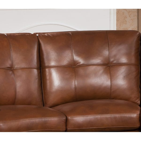 Excellent Shop Oakbrook Brown Curved Top Grain Leather Sectional Sofa Pdpeps Interior Chair Design Pdpepsorg