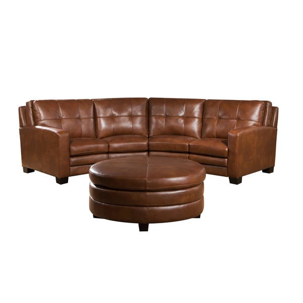 Pleasant Shop Oakbrook Brown Curved Top Grain Leather Sectional Sofa Squirreltailoven Fun Painted Chair Ideas Images Squirreltailovenorg