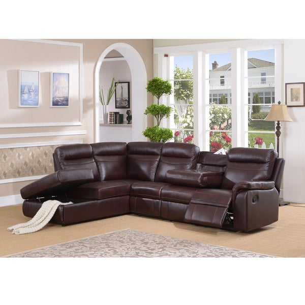 Shop Monti Top Grain Burgundy Leather Lay Flat Reclining