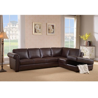 Brookport Premium Top Grain Brown Leather Sectional Sofa