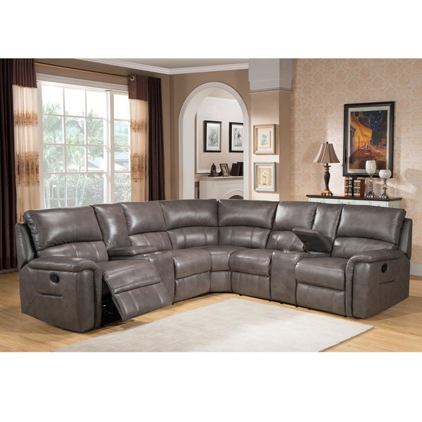 Cortez Premium Top Grain Gray Leather Reclining Sectional Sofa  sc 1 st  Overstock.com : recliner sectional couches - islam-shia.org