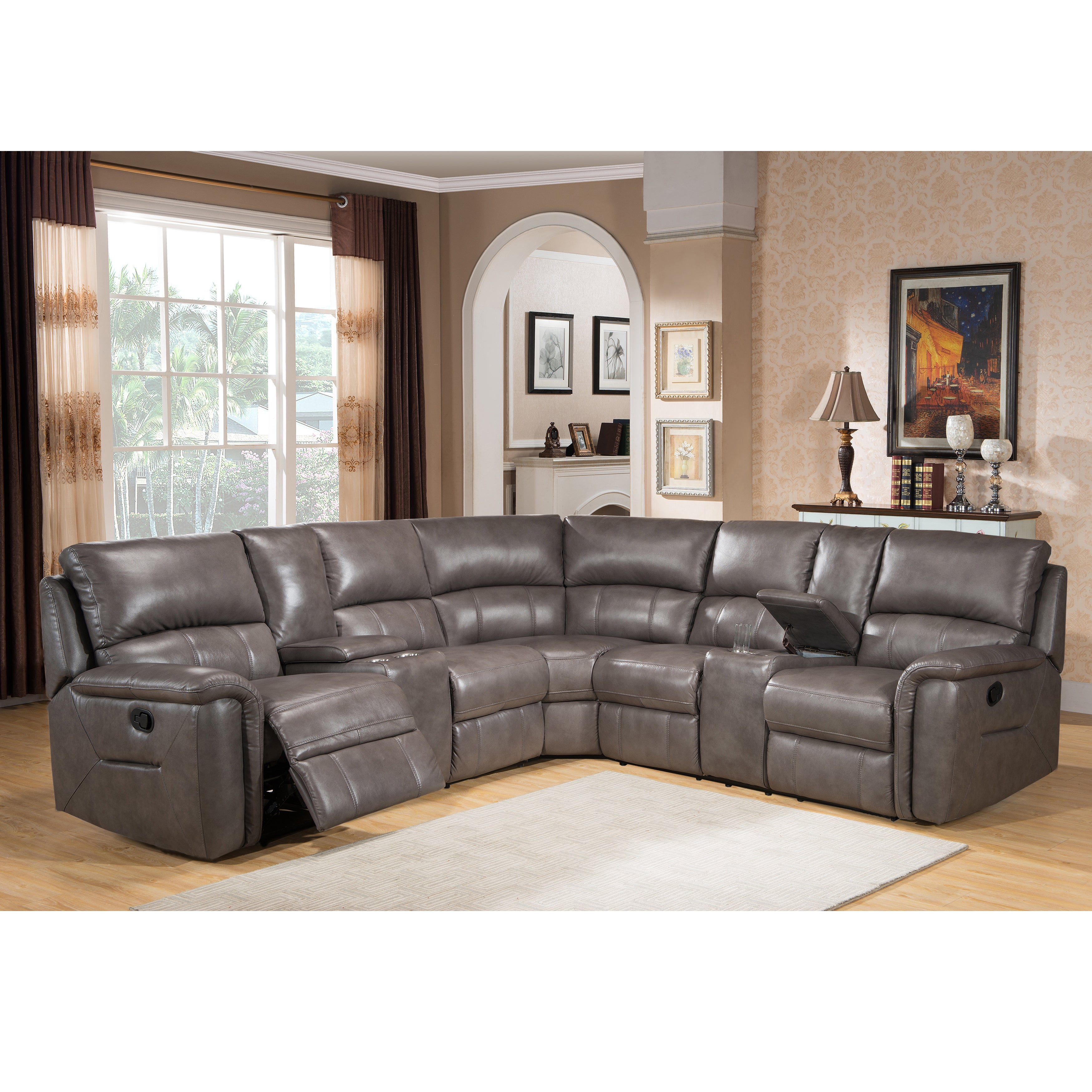 Cortez Premium Top Grain Gray Leather Reclining Sectional...