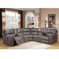 Cortez Premium Top Grain Gray Leather Reclining Sectional Sofa