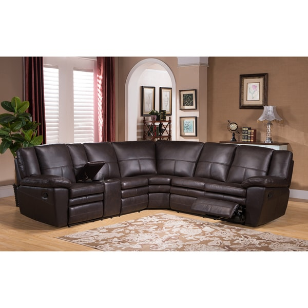 reclining sectional with console loukas leather sofa chaise nailheads premium top grain brown