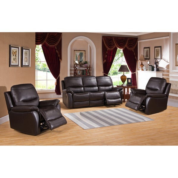Pierce Brown Premium Top Grain Leather Reclining Sofa and Two Chairs