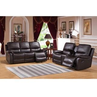 Pierce Brown Premium Top Grain Leather Reclining Sofa and Loveseat