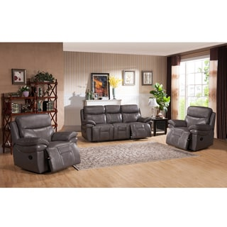 Argo Grey Premium Top Grain Leather Lay Flat Reclining Sofa and Two Chairs