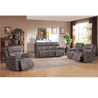 Argo Grey Premium Top Grain Leather Lay Flat Reclining Sofa, Loveseat and Chair