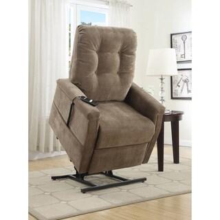 Exel Brown Fabric Power Lift Chair Recliner