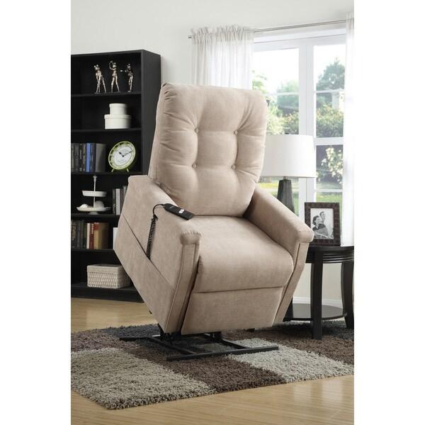Morton Beige Fabric Power Lift Chair Recliner