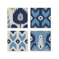 Alternating Blue Ikat 4-piece Canvas Art Set