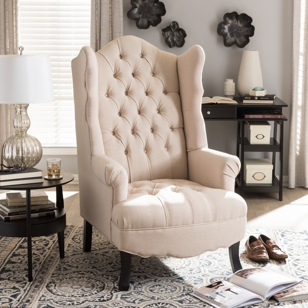 Baxton Studio Norwood Beige Tufted Wingback Chair