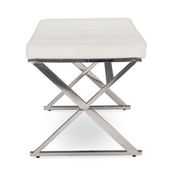 Amazing Shop Benoit Contemporary White Pu Leather Upholstered Bench Cjindustries Chair Design For Home Cjindustriesco