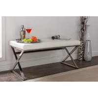 Benoit Contemporary White PU Leather Upholstered Bench With Stainless Steel Legs