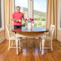 Clearwater Multi-Colored Double Drop Leaf Wood Dining Table (ONLY) by Christopher Knight Home - dark oak & antique white