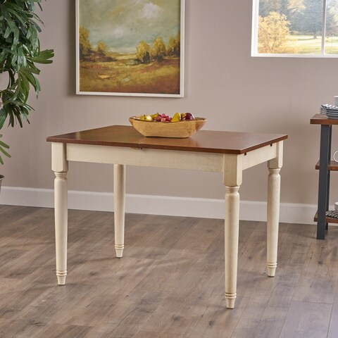 Clearwater Multicolored Wood Dining Table with Leaf Extension by Christopher Knight Home - Light Brown/Brown