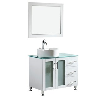 Vinnova Tuscany 36-inch Single White Vanity with White Vessel Sink, Glass Countertop, and Mirror
