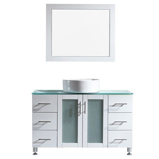 Vinnova Tuscany 48-inch Single Vanity in White with White Vessel Sink with Glass Countertop with Mirror