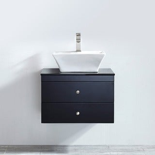 Vinnova Ravenna 24-inch Single Espresso Mirrorless Vanity with White Vessel Sink, and Black Glass Countertop
