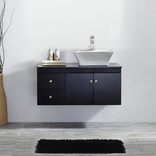Vinnova ravenna 36 inch single espresso vanity with white vessel sink and glass countertop for 36 inch espresso bathroom vanity