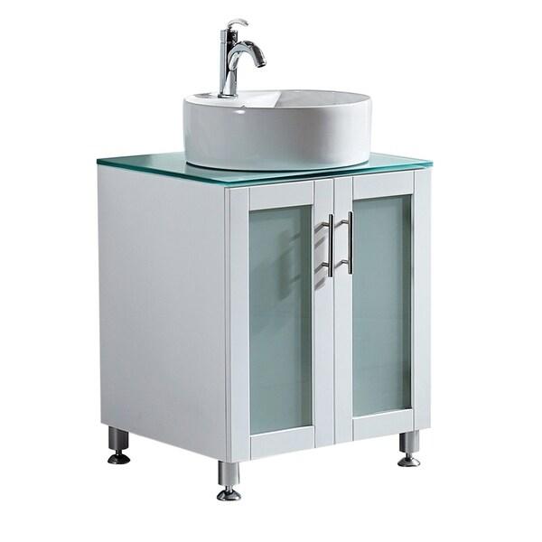 65 Inch Bathroom Vanity Single Sink: Shop Vinnova Tuscany 24-inch Single White Mirrorless