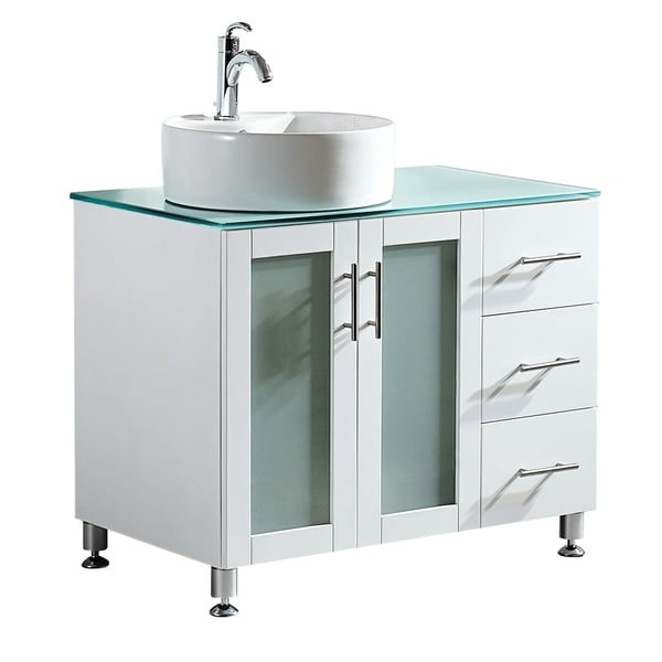 shop vinnova tuscany 36 inch single vanity in white with white vessel sink with glass countertop. Black Bedroom Furniture Sets. Home Design Ideas