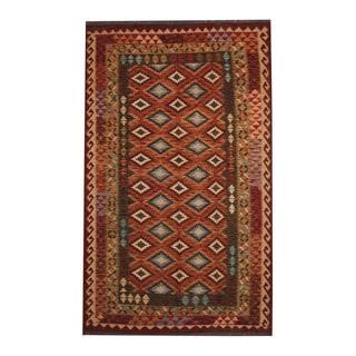 Herat Oriental Afghan Hand-woven Tribal Vegetable Dye Wool Kilim (5'4 x 8'8)