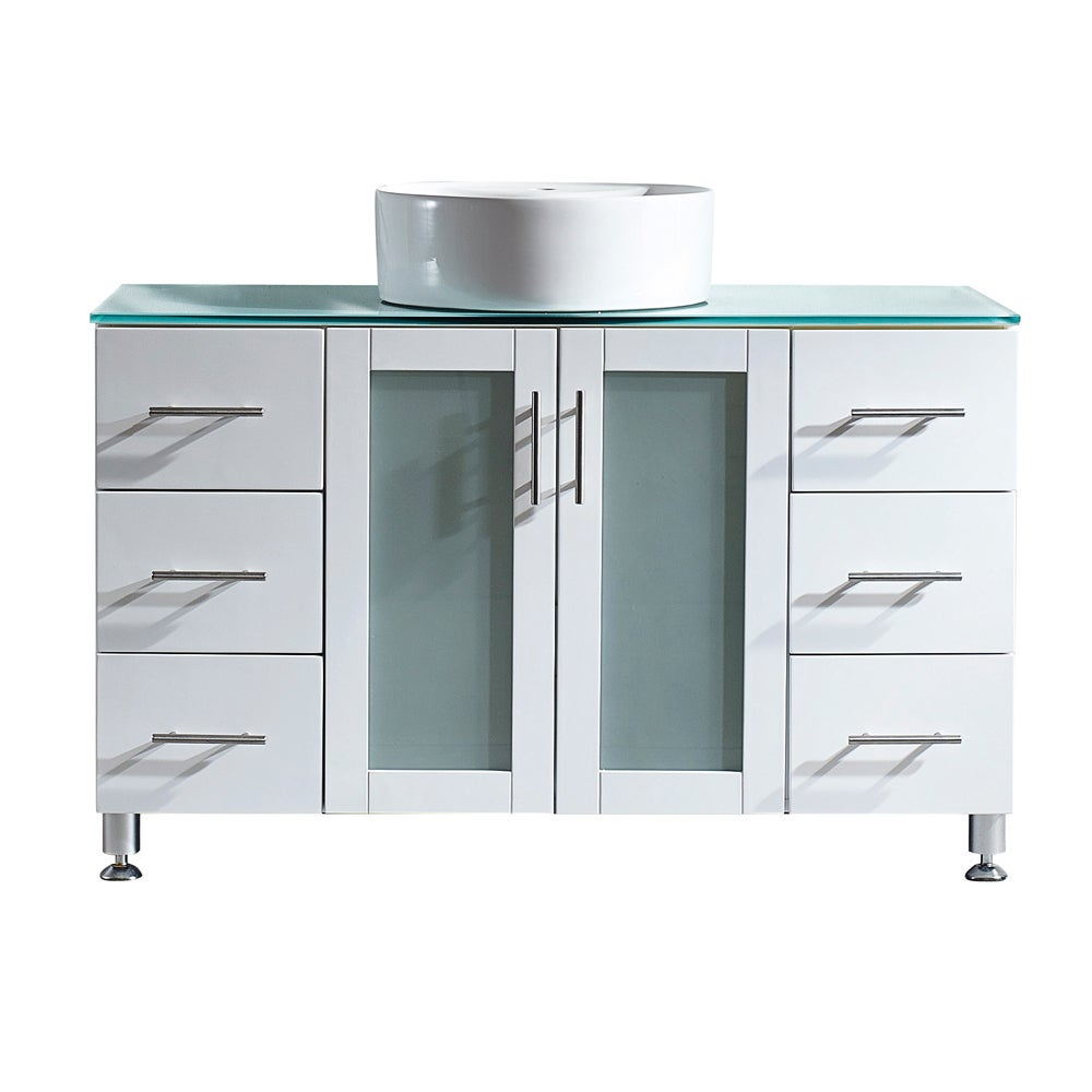 Vinnova Tuscany 48-inch Single Vanity in White with Carre...