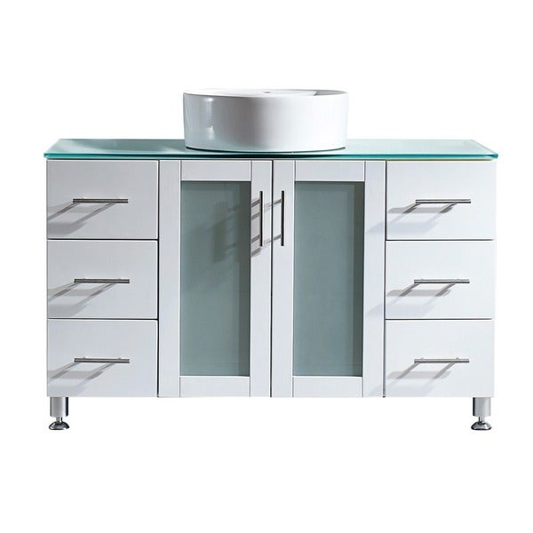 Vinnova tuscany 48 inch single vanity in white with - 48 inch bathroom vanity without top ...