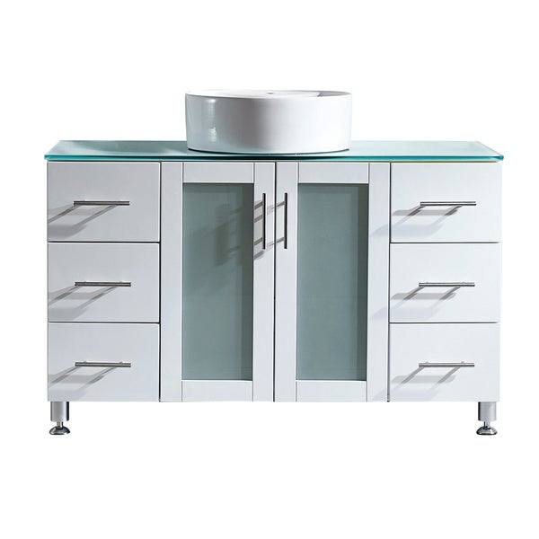 Shop vinnova tuscany 48 inch single vanity in white with - 48 inch white bathroom vanity with top ...