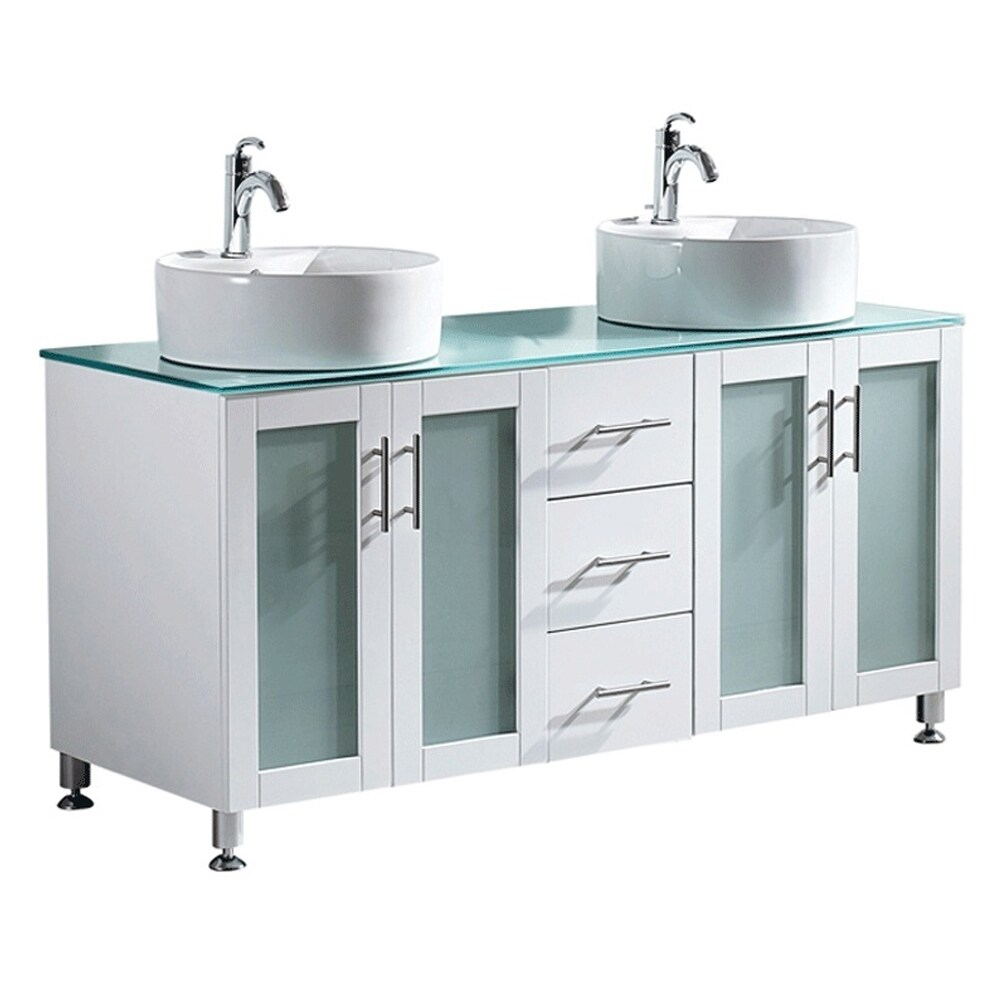 Vinnova Tuscany 60 Inch White Double Vanity With White Vessel Sink And  Glass Countertop