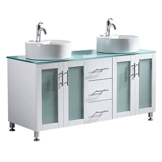 Vinnova Tuscany 60-inch White Double Vanity with White Vessel Sink and Glass Countertop