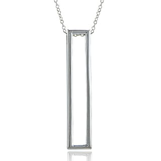 Mondevio Sterling Silver Upright Rectangle Necklace
