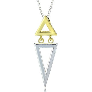 Mondevio Sterling Silver Two-Tone Dual Inverted Triangle Necklace