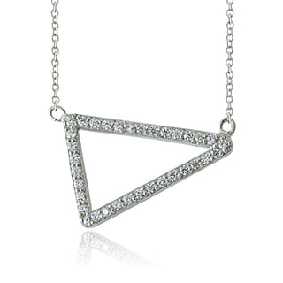ICZ Stonez Sterling Silver Cubic Zirconia Triangle Necklace