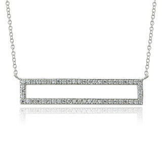 ICZ Stonez Sterling Silver Cubic Zirconia Rectangle Necklace