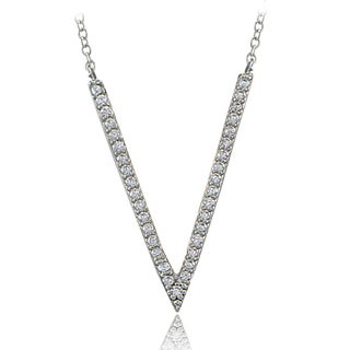 ICZ Stonez Sterling Silver Cubic Zirconia V Necklace