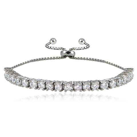 ICZ Stonez Sterling Silver Cubic Zirconia Adjustable Slider Bracelet