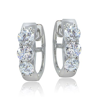 ICZ Stonez Sterling Silver Cubic Zirconia Huggie Round Hoop Earrings